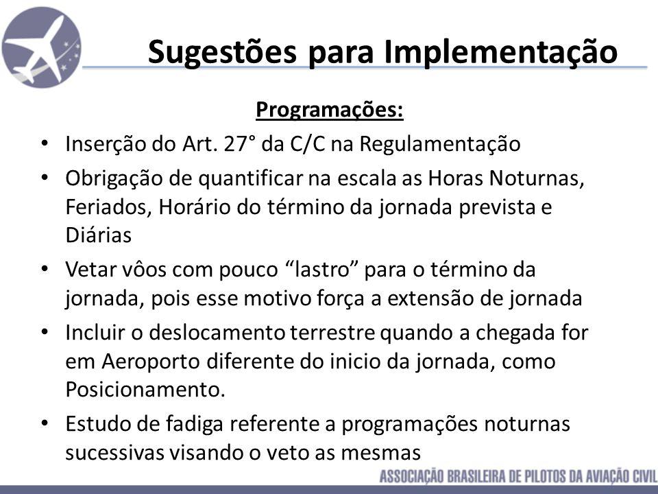 Sugestões para Implementação Programações: Inserção do Art. 27° da C/C na Regulamentação Obrigação de quantificar na escala as Horas Noturnas, Feriado