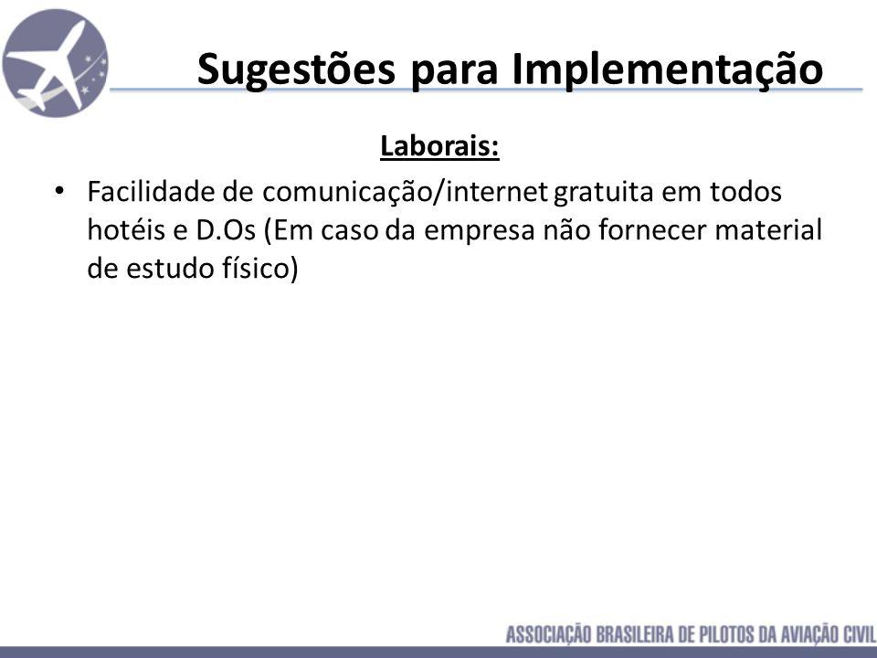Sugestões para Implementação Laborais: