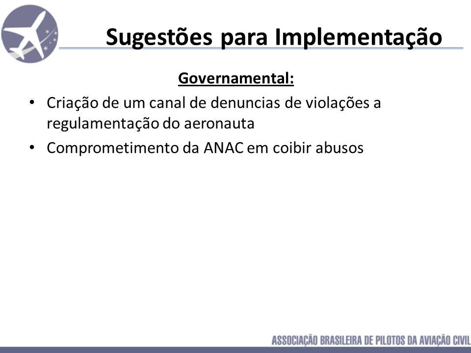 Sugestões para Implementação Governamental: Criação de um canal de denuncias de violações a regulamentação do aeronauta