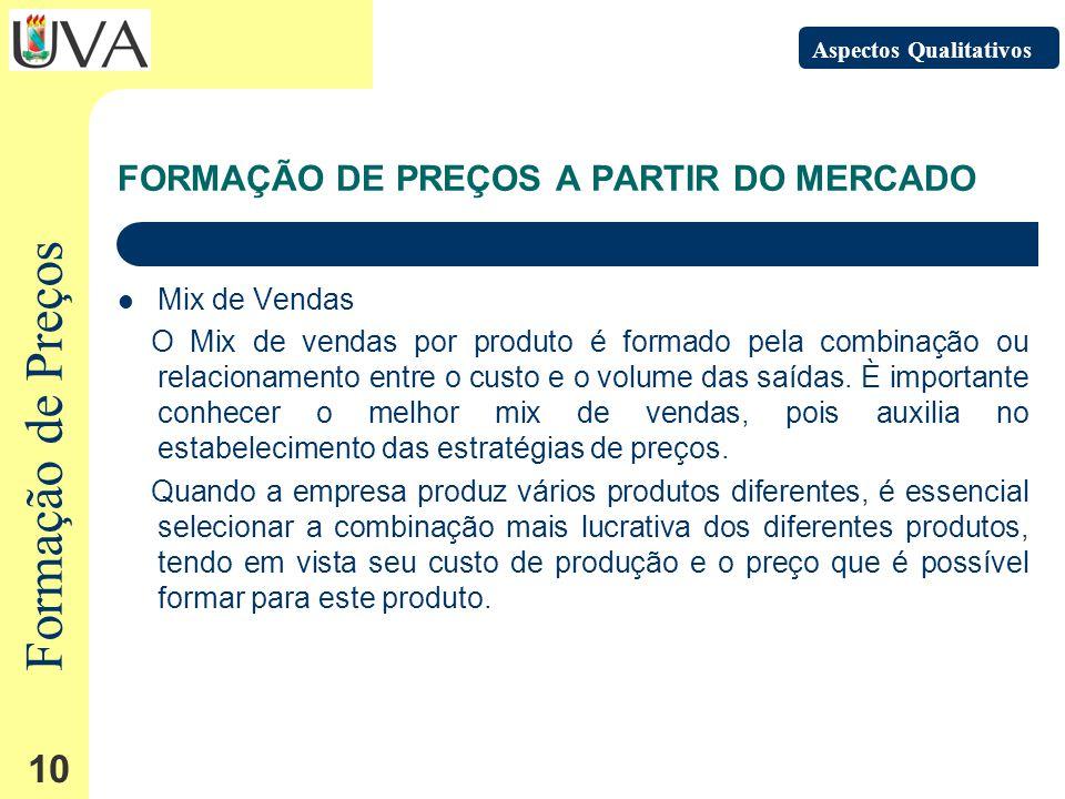 Formação de Preços 10 FORMAÇÃO DE PREÇOS A PARTIR DO MERCADO Mix de Vendas O Mix de vendas por produto é formado pela combinação ou relacionamento entre o custo e o volume das saídas.