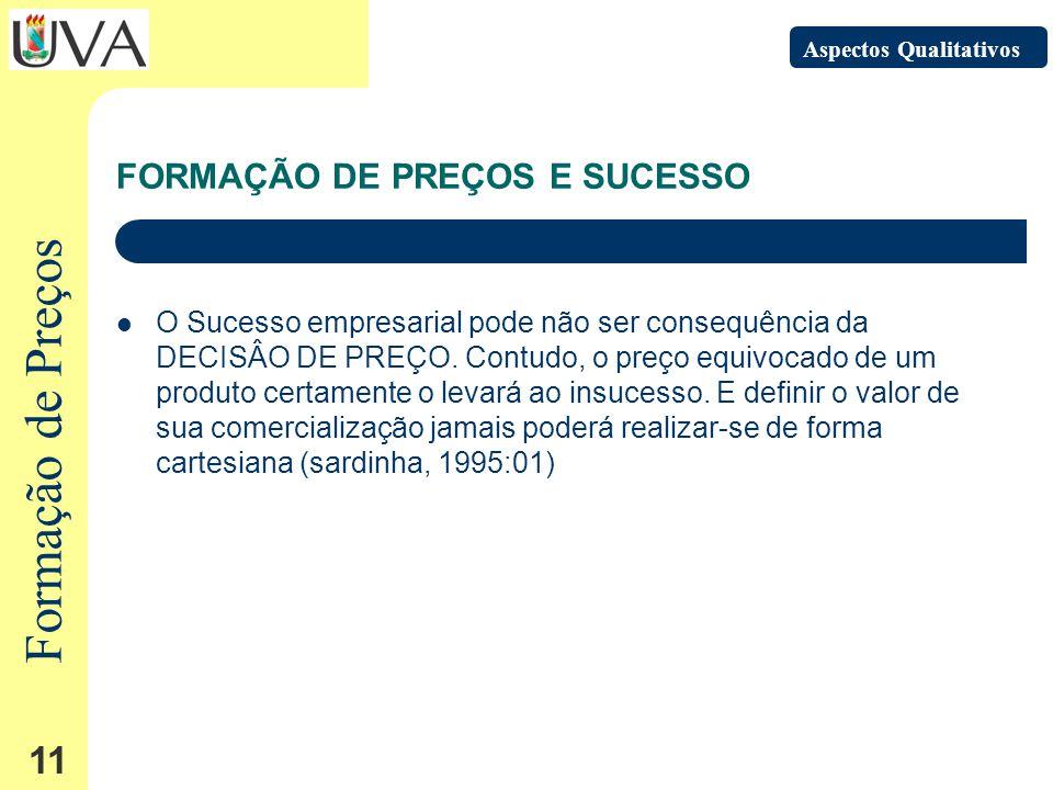 Formação de Preços 11 FORMAÇÃO DE PREÇOS E SUCESSO O Sucesso empresarial pode não ser consequência da DECISÂO DE PREÇO.