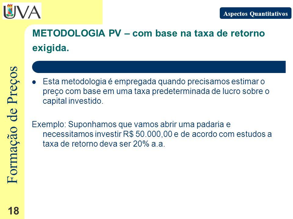 Formação de Preços 18 Esta metodologia é empregada quando precisamos estimar o preço com base em uma taxa predeterminada de lucro sobre o capital investido.