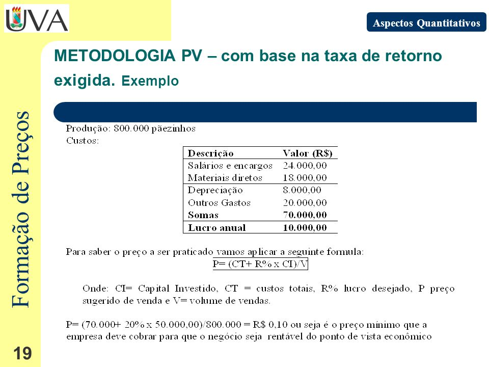 Formação de Preços 19 METODOLOGIA PV – com base na taxa de retorno exigida.