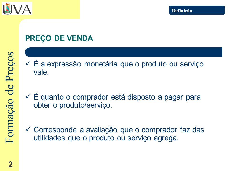 Formação de Preços 2 PREÇO DE VENDA É a expressão monetária que o produto ou serviço vale.