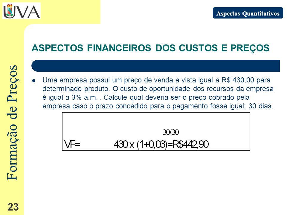 Formação de Preços 23 Uma empresa possui um preço de venda a vista igual a R$ 430,00 para determinado produto.