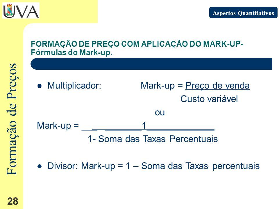 Formação de Preços 28 FORMAÇÃO DE PREÇO COM APLICAÇÃO DO MARK-UP- Fórmulas do Mark-up.