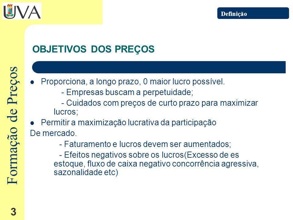 Formação de Preços 3 OBJETIVOS DOS PREÇOS Proporciona, a longo prazo, 0 maior lucro possível.