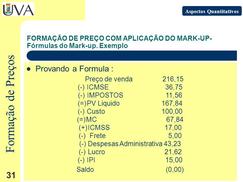 Formação de Preços 31 FORMAÇÃO DE PREÇO COM APLICAÇÃO DO MARK-UP- Fórmulas do Mark-up.