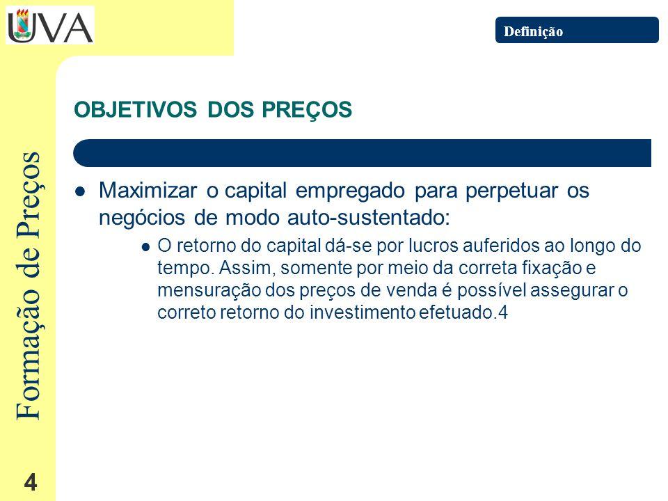 Formação de Preços 4 OBJETIVOS DOS PREÇOS Maximizar o capital empregado para perpetuar os negócios de modo auto-sustentado: O retorno do capital dá-se por lucros auferidos ao longo do tempo.