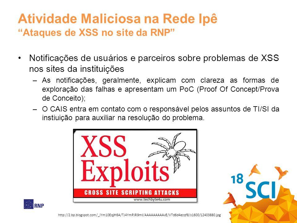 Atividade Maliciosa na Rede Ipê Ataques de XSS no site da RNP Notificações de usuários e parceiros sobre problemas de XSS nos sites da instituições –A
