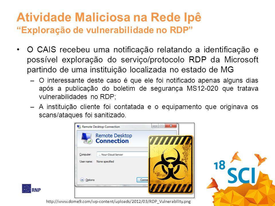 Atividade Maliciosa na Rede IpêExploração de vulnerabilidade no RDP O CAIS recebeu uma notificação relatando a identificação e possível exploração do