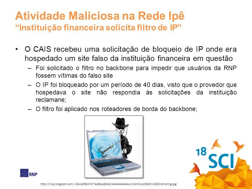 Atividade Maliciosa na Rede IpêInstituição financeira solicita filtro de IP O CAIS recebeu uma solicitação de bloqueio de IP onde era hospedado um sit