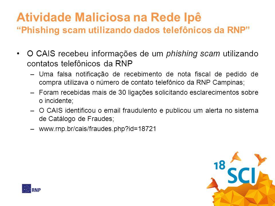 Atividade Maliciosa na Rede Ipê Phishing scam utilizando dados telefônicos da RNP O CAIS recebeu informações de um phishing scam utilizando contatos t