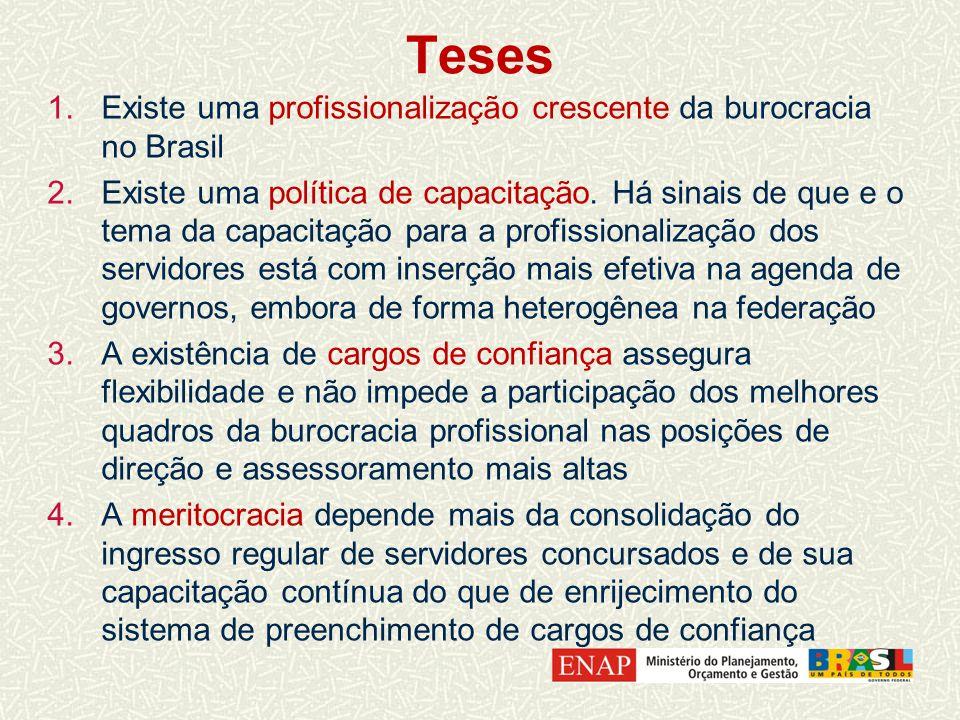 Teses 1.Existe uma profissionalização crescente da burocracia no Brasil 2.Existe uma política de capacitação.
