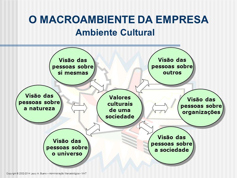 Valores culturais de uma sociedade O MACROAMBIENTE DA EMPRESA Visão das pessoas sobre si mesmas Ambiente Cultural Visão das pessoas sobre o universo V