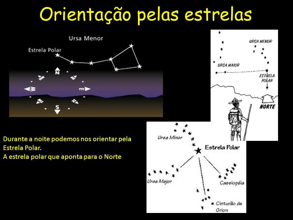 Orientação pelas estrelas Durante a noite podemos nos orientar pela Estrela Polar.