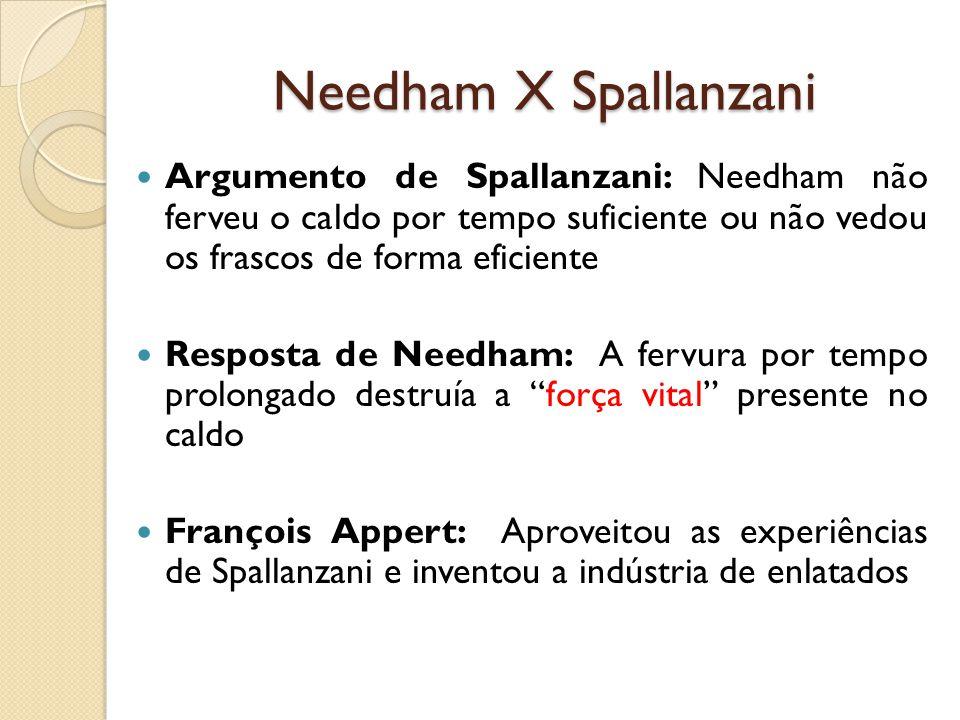 Needham X Spallanzani Argumento de Spallanzani: Needham não ferveu o caldo por tempo suficiente ou não vedou os frascos de forma eficiente força vital