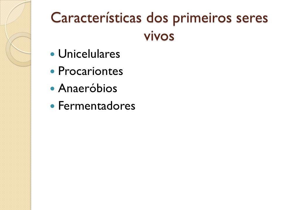 Características dos primeiros seres vivos Unicelulares Procariontes Anaeróbios Fermentadores