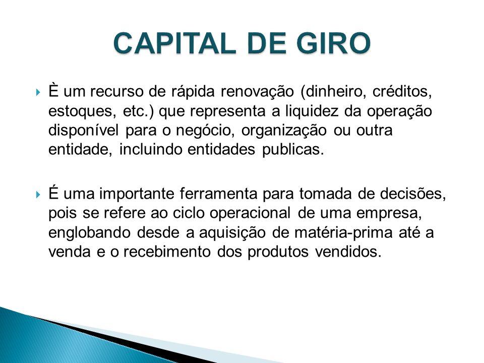 È um recurso de rápida renovação (dinheiro, créditos, estoques, etc.) que representa a liquidez da operação disponível para o negócio, organização ou outra entidade, incluindo entidades publicas.