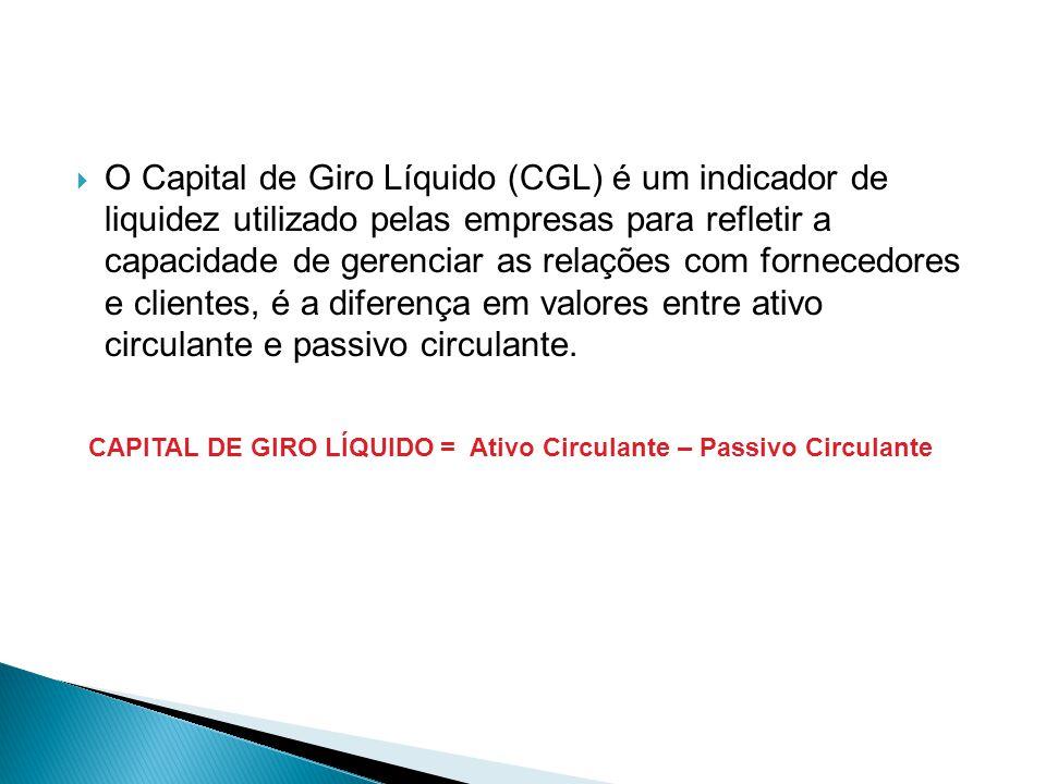 O Capital de Giro Líquido (CGL) é um indicador de liquidez utilizado pelas empresas para refletir a capacidade de gerenciar as relações com fornecedores e clientes, é a diferença em valores entre ativo circulante e passivo circulante.