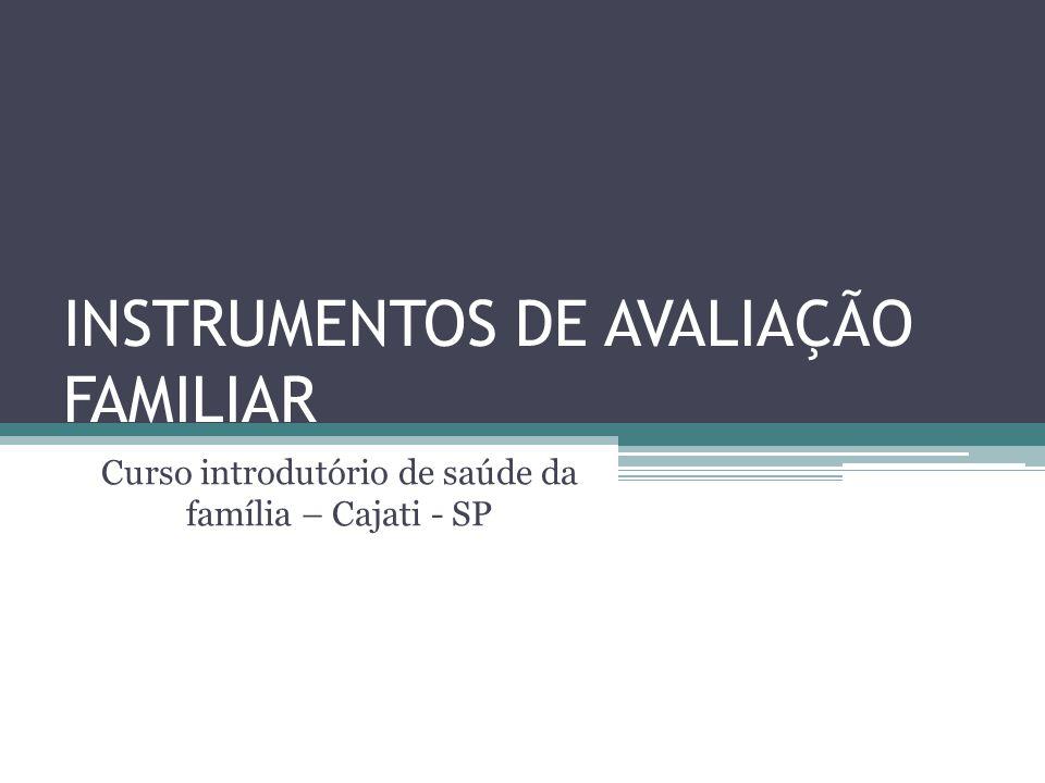 INSTRUMENTOS DE AVALIAÇÃO FAMILIAR Curso introdutório de saúde da família – Cajati - SP