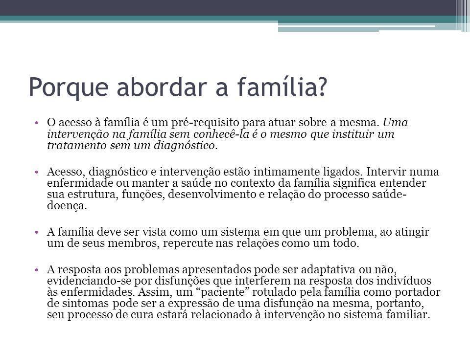 Porque abordar a família.O acesso à família é um pré-requisito para atuar sobre a mesma.