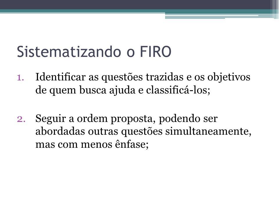 Sistematizando o FIRO 1.Identificar as questões trazidas e os objetivos de quem busca ajuda e classificá-los; 2.Seguir a ordem proposta, podendo ser abordadas outras questões simultaneamente, mas com menos ênfase;