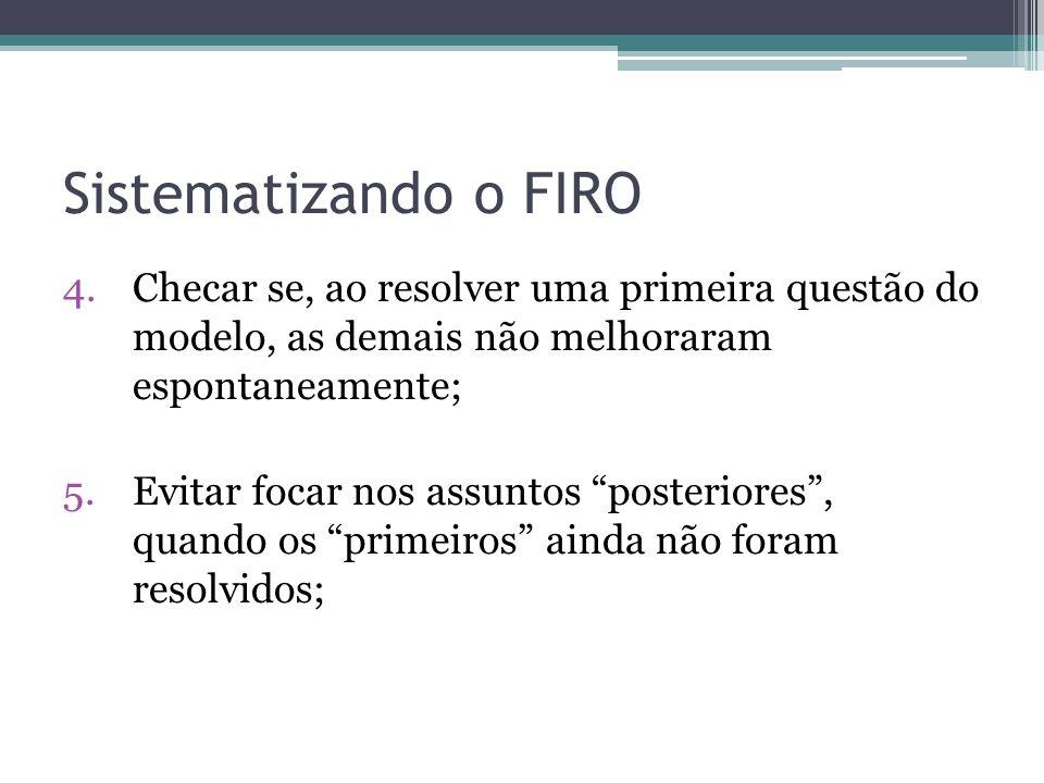 Sistematizando o FIRO 4.Checar se, ao resolver uma primeira questão do modelo, as demais não melhoraram espontaneamente; 5.Evitar focar nos assuntos posteriores, quando os primeiros ainda não foram resolvidos;