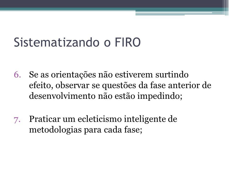 Sistematizando o FIRO 6.Se as orientações não estiverem surtindo efeito, observar se questões da fase anterior de desenvolvimento não estão impedindo; 7.Praticar um ecleticismo inteligente de metodologias para cada fase;