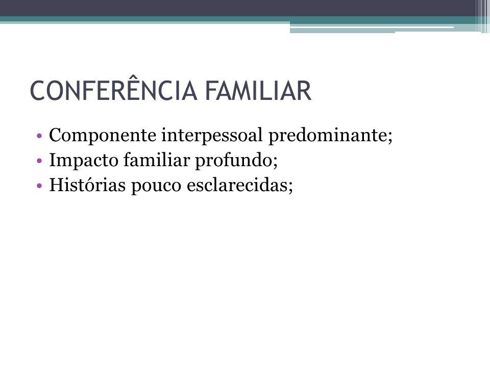 CONFERÊNCIA FAMILIAR Componente interpessoal predominante; Impacto familiar profundo; Histórias pouco esclarecidas;