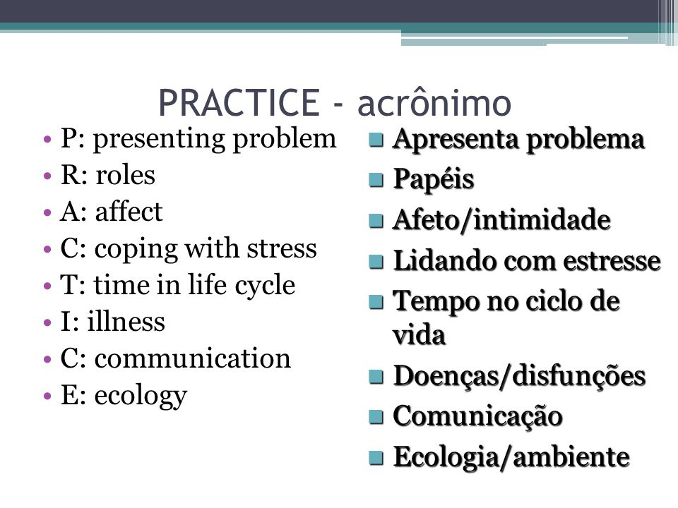 PRACTICE - acrônimo P: presenting problem R: roles A: affect C: coping with stress T: time in life cycle I: illness C: communication E: ecology Aprese