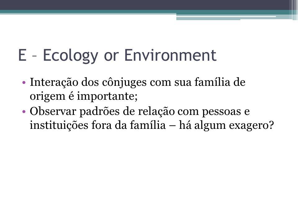 E – Ecology or Environment Interação dos cônjuges com sua família de origem é importante; Observar padrões de relação com pessoas e instituições fora da família – há algum exagero?