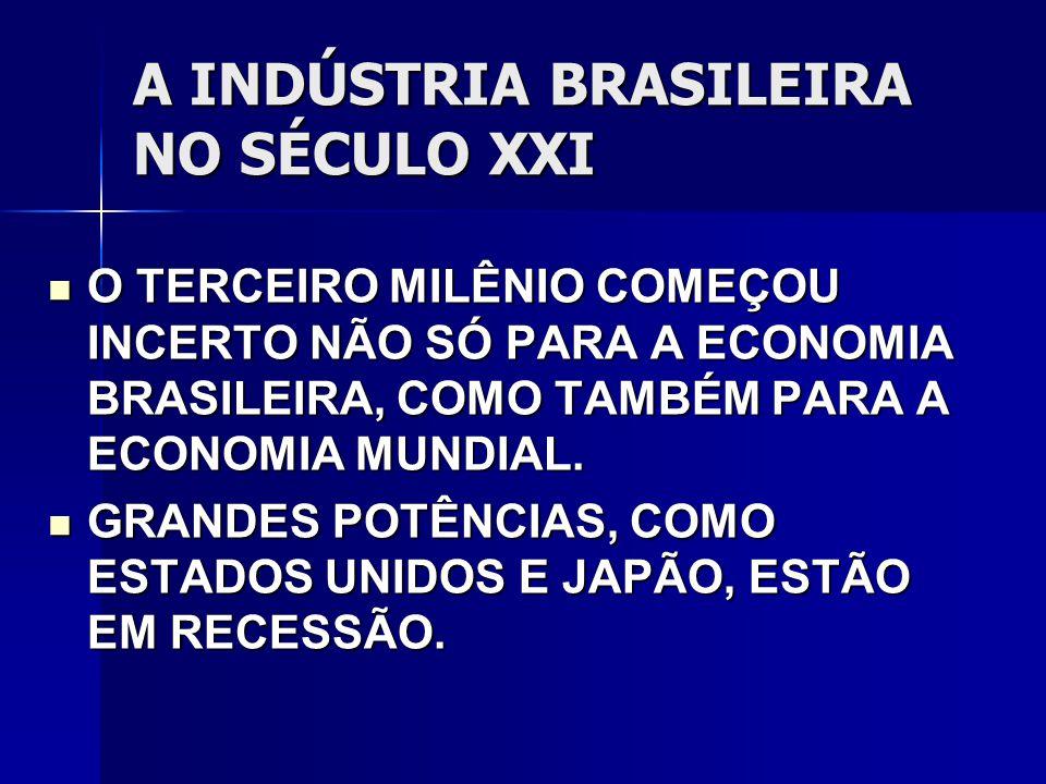 A INDÚSTRIA BRASILEIRA NO SÉCULO XXI O TERCEIRO MILÊNIO COMEÇOU INCERTO NÃO SÓ PARA A ECONOMIA BRASILEIRA, COMO TAMBÉM PARA A ECONOMIA MUNDIAL.