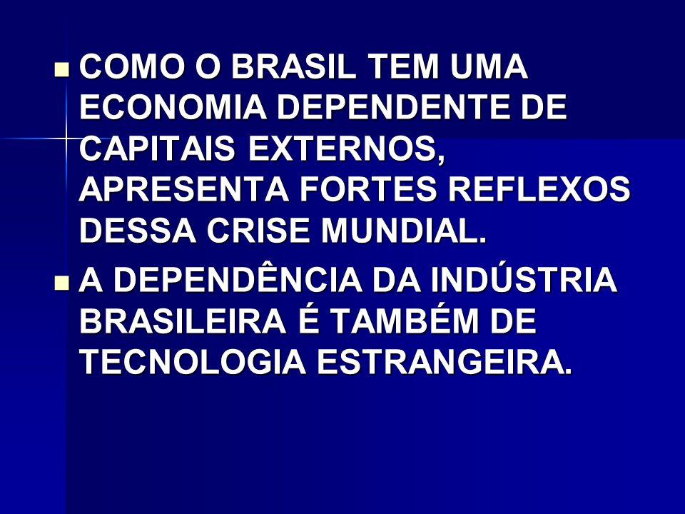COMO O BRASIL TEM UMA ECONOMIA DEPENDENTE DE CAPITAIS EXTERNOS, APRESENTA FORTES REFLEXOS DESSA CRISE MUNDIAL.