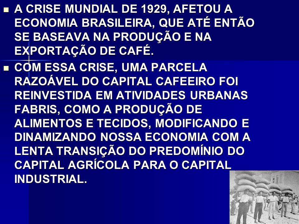 A CRISE MUNDIAL DE 1929, AFETOU A ECONOMIA BRASILEIRA, QUE ATÉ ENTÃO SE BASEAVA NA PRODUÇÃO E NA EXPORTAÇÃO DE CAFÉ.