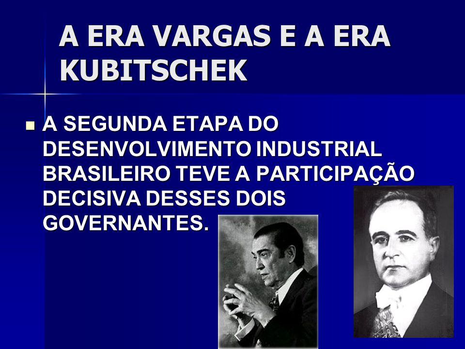 A ERA VARGAS E A ERA KUBITSCHEK A SEGUNDA ETAPA DO DESENVOLVIMENTO INDUSTRIAL BRASILEIRO TEVE A PARTICIPAÇÃO DECISIVA DESSES DOIS GOVERNANTES.
