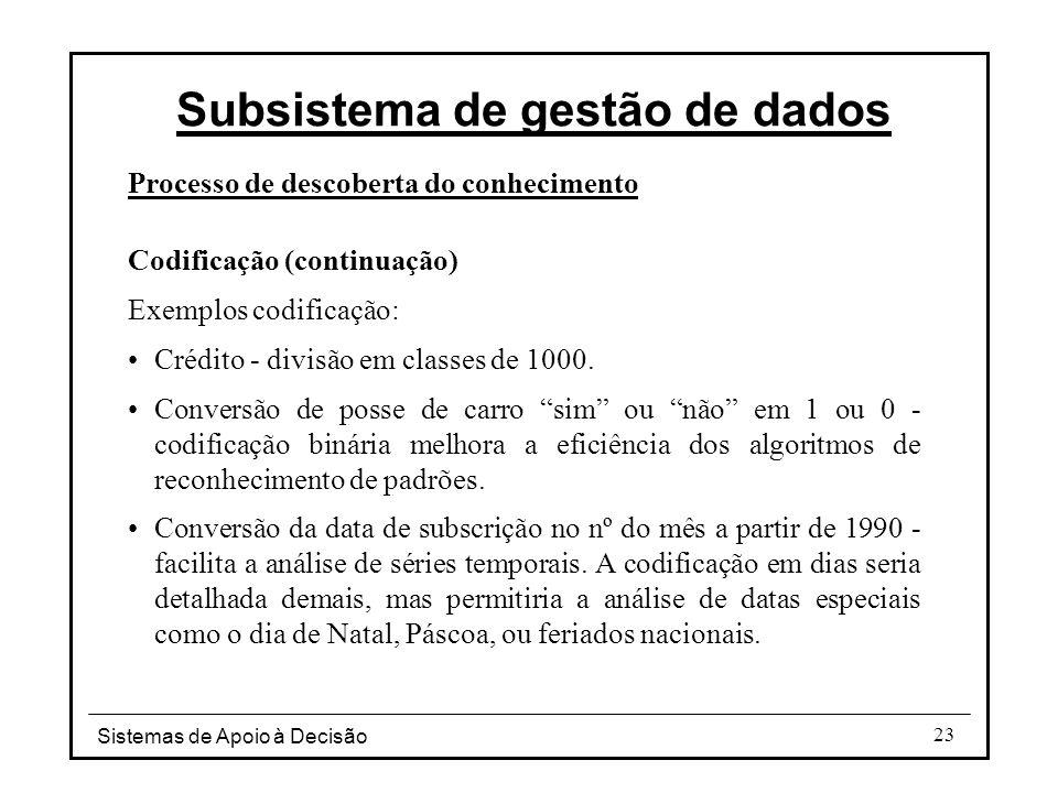 Sistemas de Apoio à Decisão 23 Processo de descoberta do conhecimento Codificação (continuação) Exemplos codificação: Crédito - divisão em classes de 1000.