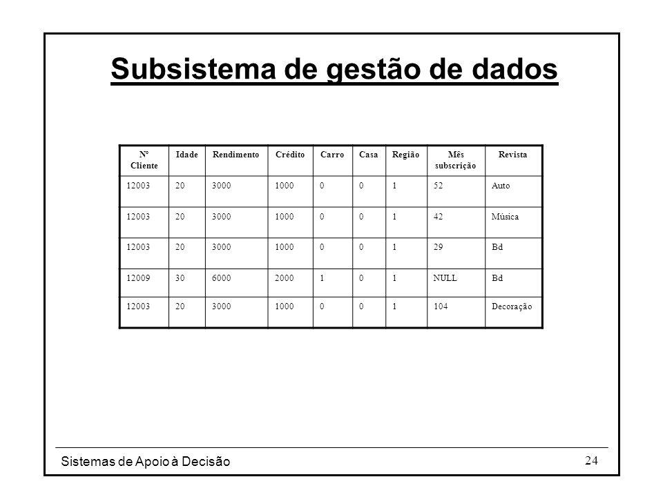 Sistemas de Apoio à Decisão 24 Subsistema de gestão de dados Nº Cliente IdadeRendimentoCréditoCarroCasaRegiãoMês subscrição Revista 12003203000100000152Auto 12003203000100000142Música 12003203000100000129Bd 120093060002000101NULLBd 120032030001000001104Decoração