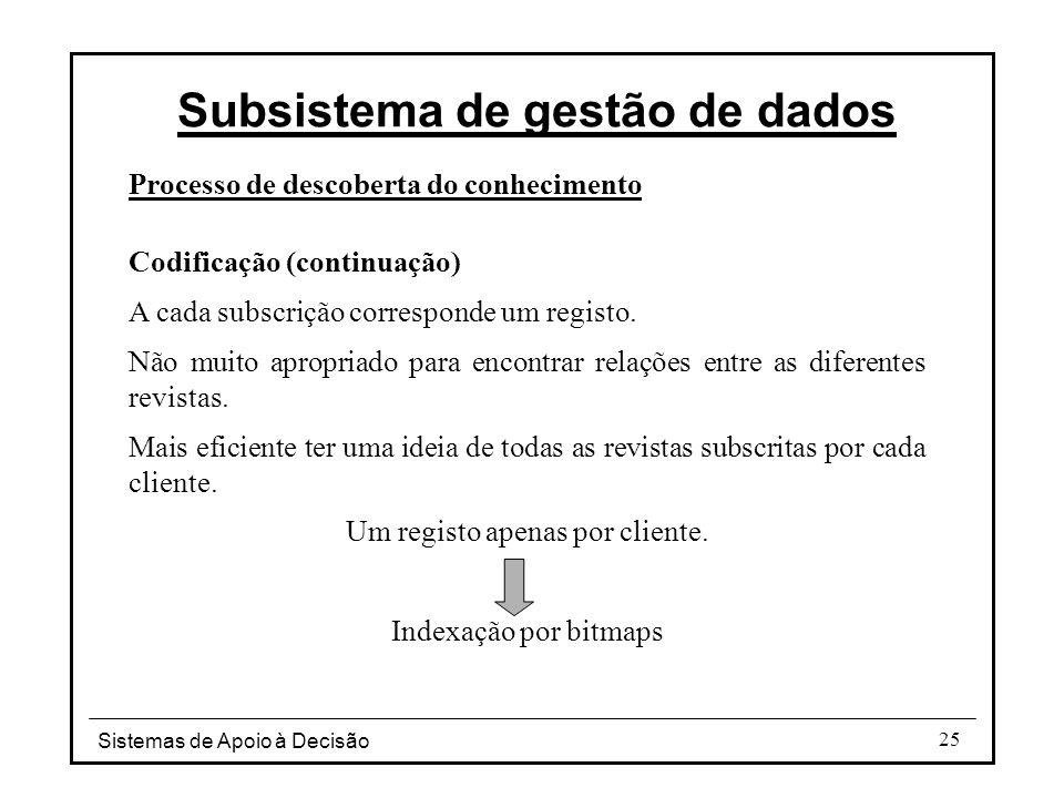 Sistemas de Apoio à Decisão 25 Processo de descoberta do conhecimento Codificação (continuação) A cada subscrição corresponde um registo.