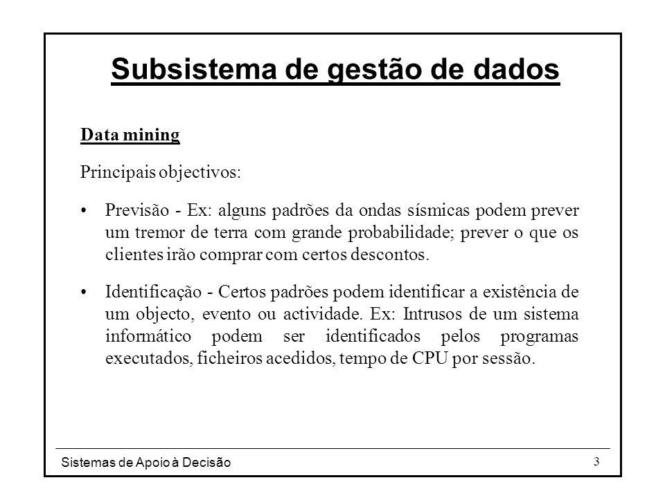 Sistemas de Apoio à Decisão 14 Subsistema de gestão de dados Nº Cliente NomeMoradaData subscrição Revista 12003SantosR.