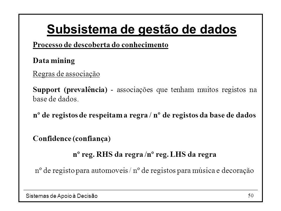 Sistemas de Apoio à Decisão 50 Processo de descoberta do conhecimento Data mining Regras de associação Support (prevalência) - associações que tenham muitos registos na base de dados.