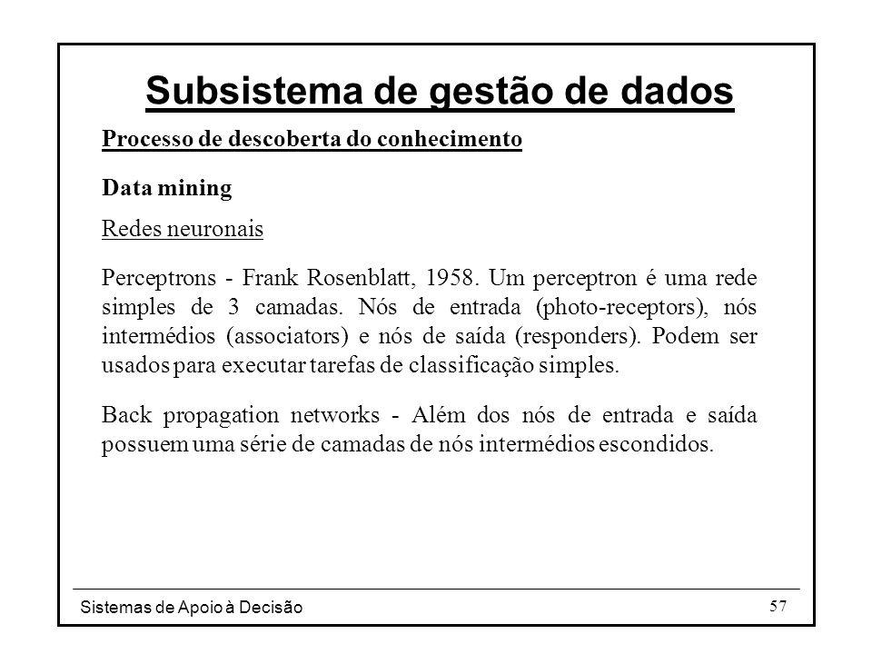 Sistemas de Apoio à Decisão 57 Processo de descoberta do conhecimento Data mining Redes neuronais Perceptrons - Frank Rosenblatt, 1958.