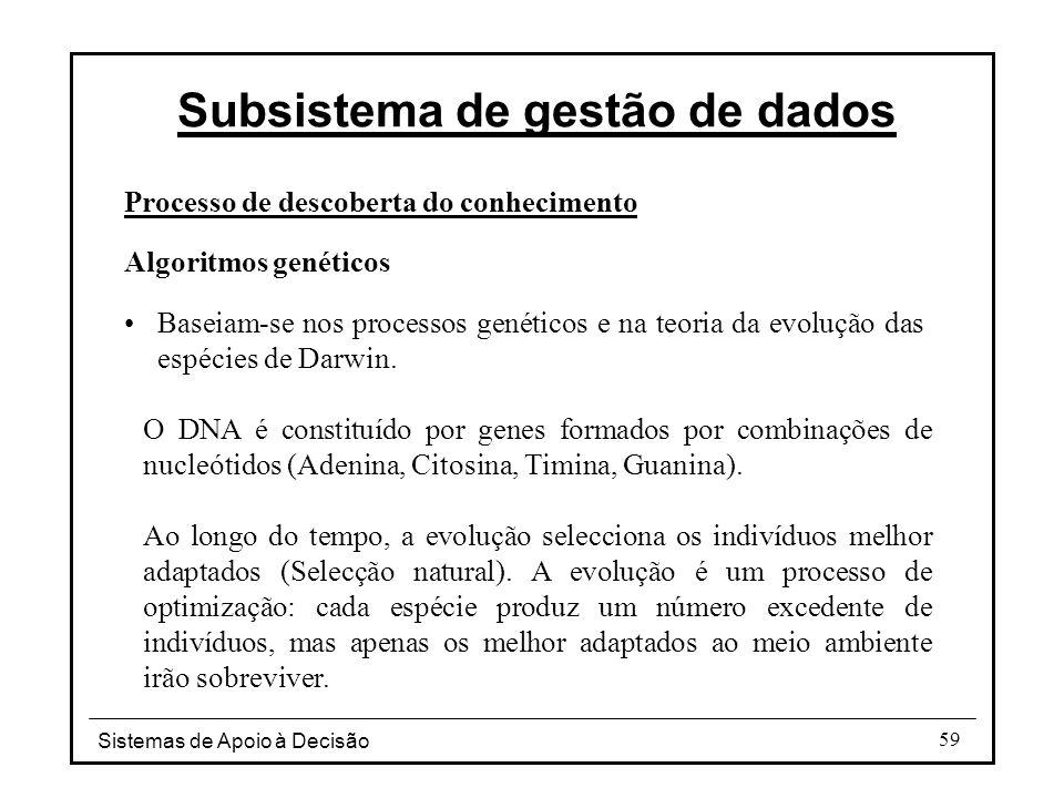 Sistemas de Apoio à Decisão 59 Processo de descoberta do conhecimento Algoritmos genéticos Baseiam-se nos processos genéticos e na teoria da evolução das espécies de Darwin.