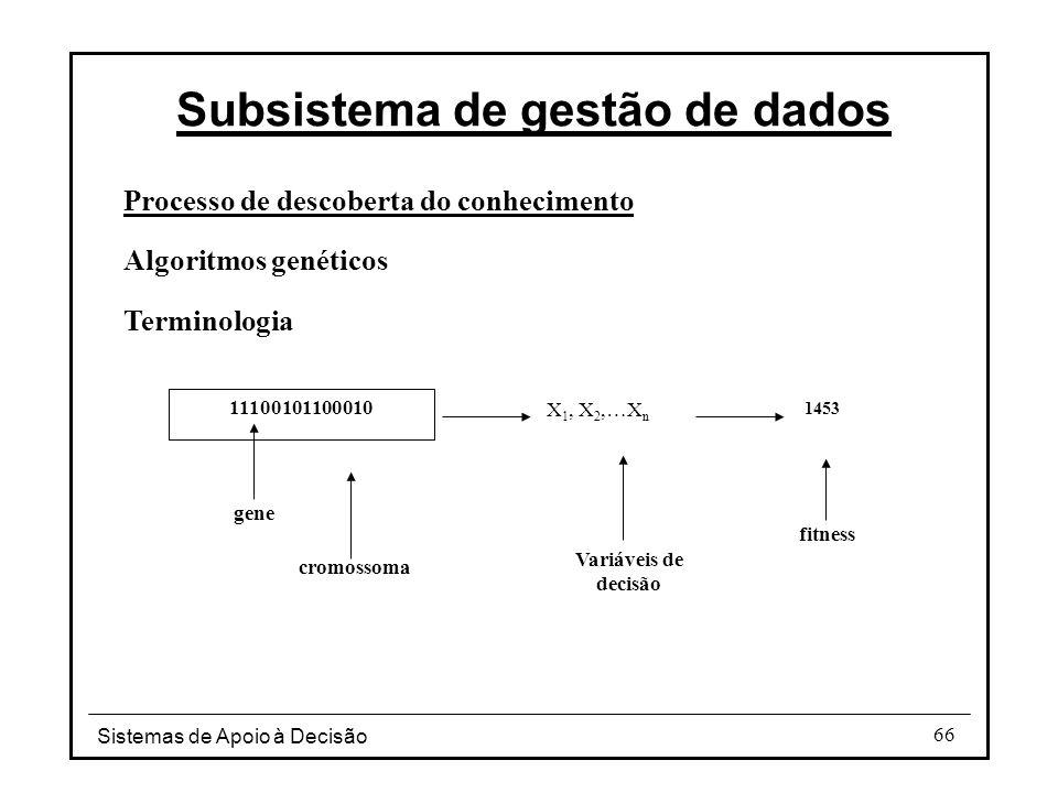 Sistemas de Apoio à Decisão 66 Processo de descoberta do conhecimento Algoritmos genéticos Terminologia Subsistema de gestão de dados 11100101100010 gene cromossoma X 1, X 2,…X n 1453 Variáveis de decisão fitness