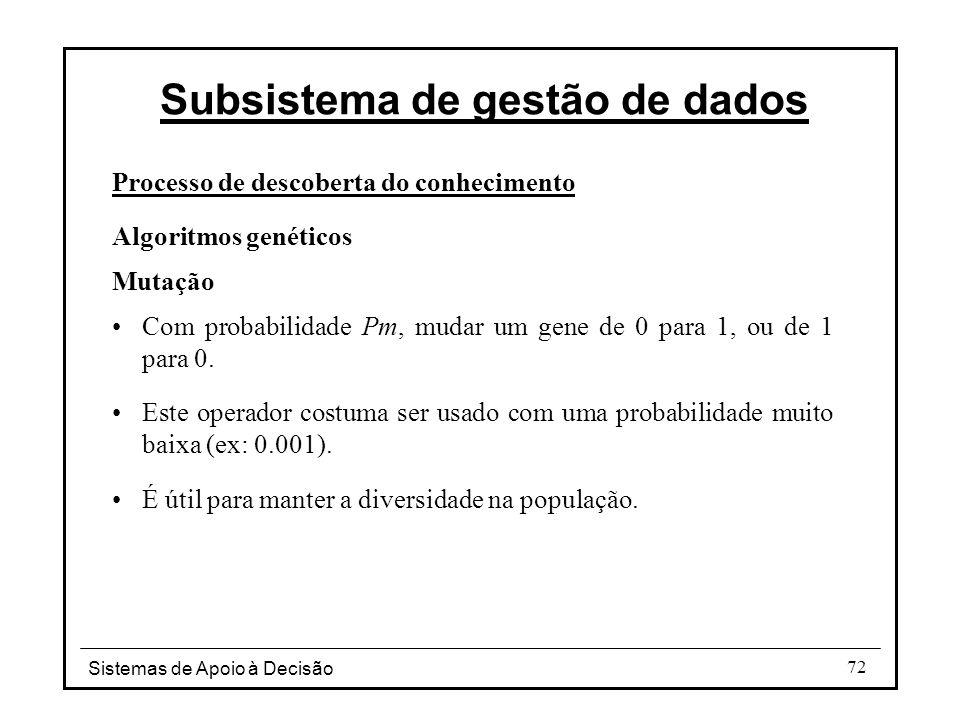 Sistemas de Apoio à Decisão 72 Processo de descoberta do conhecimento Algoritmos genéticos Mutação Com probabilidade Pm, mudar um gene de 0 para 1, ou de 1 para 0.