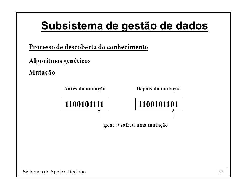Sistemas de Apoio à Decisão 73 Processo de descoberta do conhecimento Algoritmos genéticos Mutação Subsistema de gestão de dados Depois da mutação gene 9 sofreu uma mutação Antes da mutação 11001011111100101101