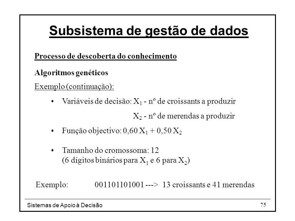 Sistemas de Apoio à Decisão 75 Processo de descoberta do conhecimento Algoritmos genéticos Exemplo (continuação): Variáveis de decisão: X 1 - nº de croissants a produzir X 2 - nº de merendas a produzir Função objectivo: 0,60 X 1 + 0,50 X 2 Tamanho do cromossoma: 12 (6 dígitos binários para X 1 e 6 para X 2 ) Exemplo:001101101001 ---> 13 croissants e 41 merendas Subsistema de gestão de dados