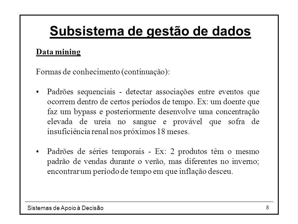 Sistemas de Apoio à Decisão 9 Processo de descoberta do conhecimento Selecção de dados Limpeza Enriquecimento Codificação Data mining (verdadeira fase de descoberta) Relatório e apresentação da informação descoberta Subsistema de gestão de dados