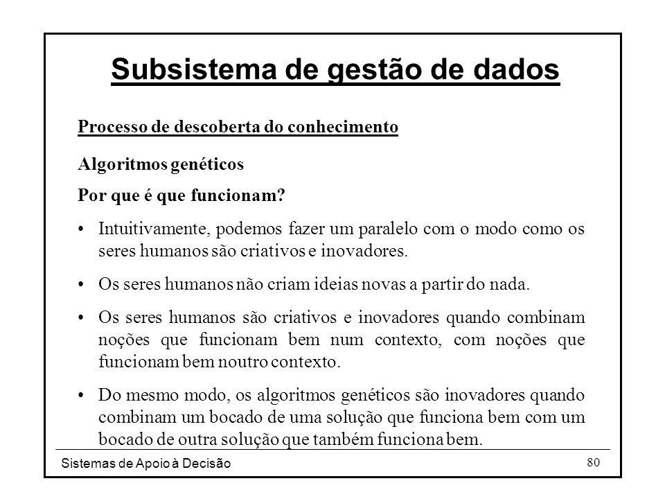 Sistemas de Apoio à Decisão 80 Processo de descoberta do conhecimento Algoritmos genéticos Por que é que funcionam.