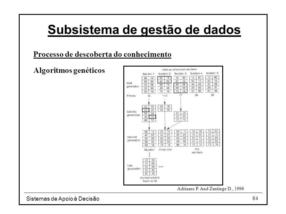 Sistemas de Apoio à Decisão 84 Processo de descoberta do conhecimento Algoritmos genéticos Subsistema de gestão de dados Adriaans P.